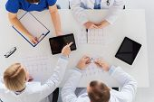 medicine, healthcare and cardiology concept - group of doctors with cardiograms, clipboard and table poster