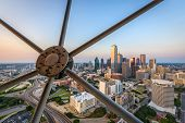 Dallas, Texas, USA downtown skyline at dusk viewed from above. poster