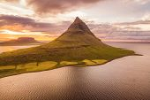 Iceland nature Kirkjufell mountain landscape in West Iceland on the Snaefellsnes peninsula. Icon of  poster