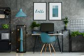 Home Office With Blue Chair poster
