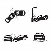 Crashed Cars Vector Car Eccident Icons Set poster