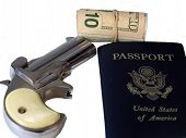 stock photo of derringer  - On the run is a photo of a roll of money a passport and a derringer over white - JPG