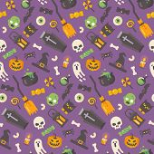 Halloween Flat Icons Pattern. Halloween Items On Purple Background. Trick Or Treat poster