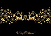 Xmas Gold Decoration With Reindeer, Holly, Gifts And  Snowflakes. poster