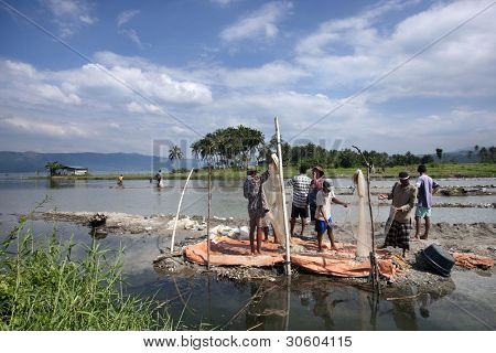 SUMATERA - FEBRUARY 10: Fishermen team up to net fish from Lake Singkarak, a tectonic lake in Sumatera, Indonesia on Feb 10, 2012. It is the biggest lake in Sumatera measuring 20km long and 8km wide.