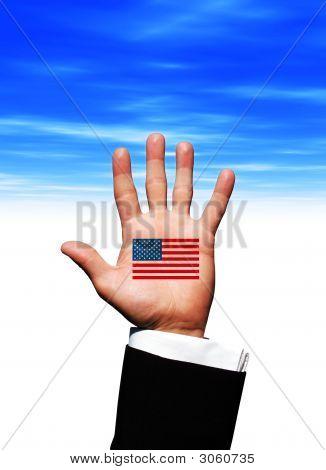 Usa Flag On Hand