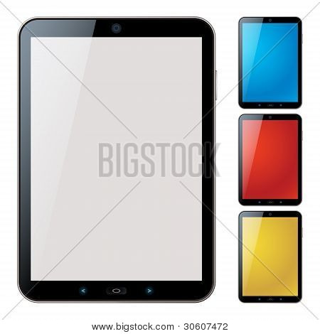 Vertical Tablet Pc Set con Copyspace - Vector aislada