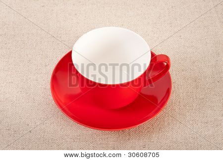 Empty Red Coffee Cup On Canvas Background