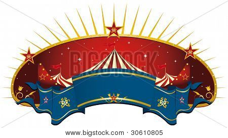 circus red banner. A circus frame with a big top and a large ribbon for your message.