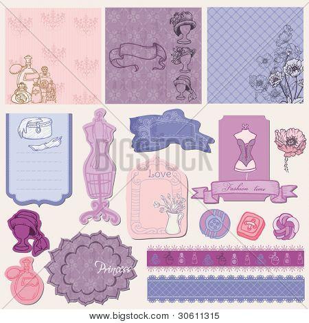 Scrapbook Design Elements - Retro Fashion Set in vector