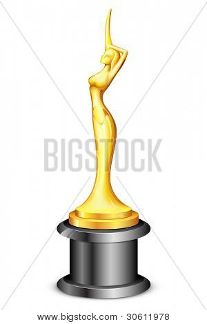 illustration of lady statue trophy on white background