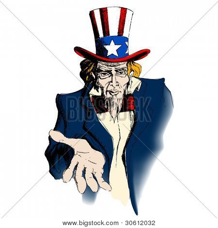 illustration of portrait of Uncle Sam on white background