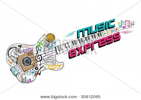illustration of music doddle in shape of guitar