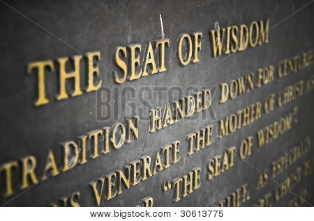 The seat of wisdom quote