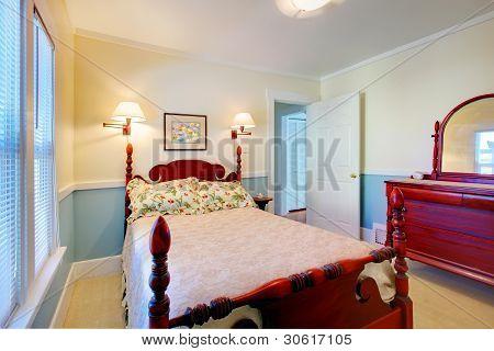 schöne romantische klassische Blaue Schlafzimmer.