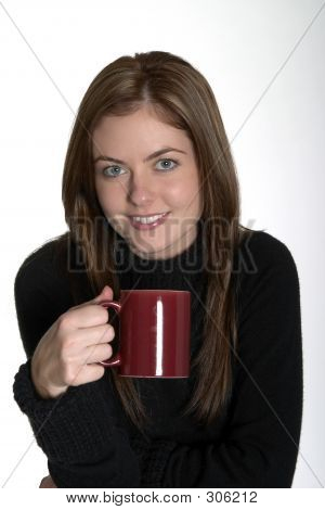 Young Woman With Hot Coffee