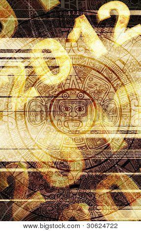 Maya prophecy. Grunge background