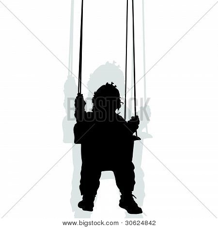 Baby On A Swing Black Silhouette