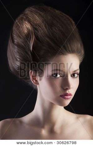 Brunette With Luxuryous Hairdo