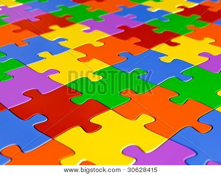 Jigsaw puzzle background - shallow depth of field