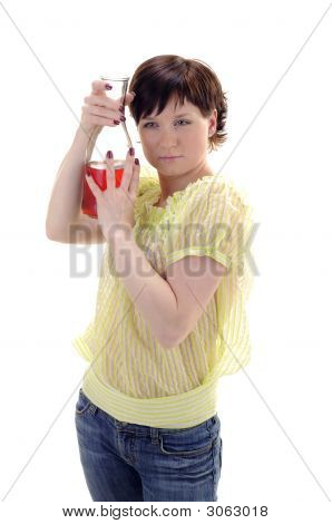 Young Woman With Bottle Of Red Wine