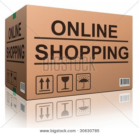 online shopping cardboard box concept icon for shipping web shop order brown isolated package