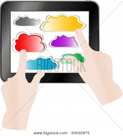 Hand Pressing A Paper Cloud On Tablet Pc Computer