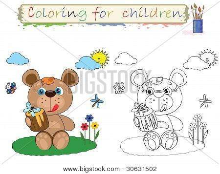 Coloring for children ,  bear