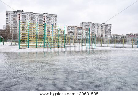 Spring flood in a city
