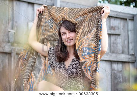 Beautiful Smiling Girl With Shawl