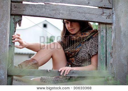Beautiful Girl With Shawl Hiding