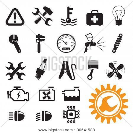 Car mechanic and service tools, icon set