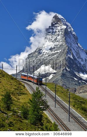 Matterhorn Railway From Zermatt To Gornergrat. Switzerland