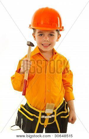 Smiling Boy Holding Hammer