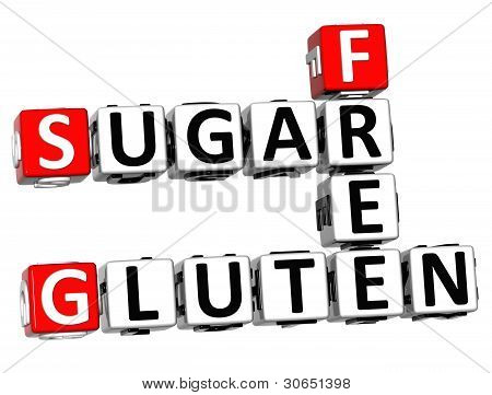 3D Gluten Sugar Free Crossword Cube Words
