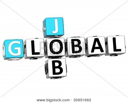 Palabras de cubo 3D Cloud Global trabajo Crucigrama