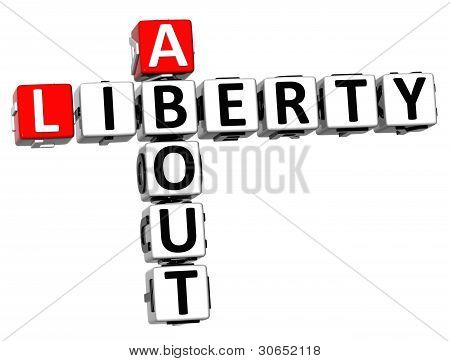 3D About Social Liberty Life Crossword Cube Words