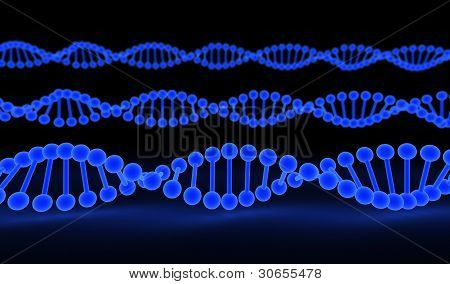 DNA Strands over black background