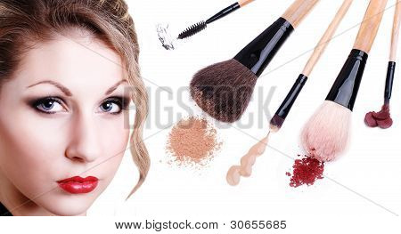 Beautiful Girl Portrait With Makeup Tools