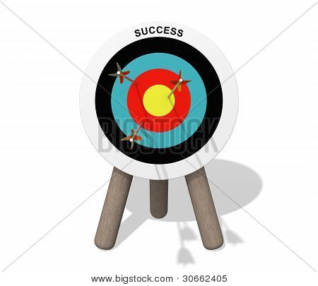 Success Target Board With Arrows On The White Background