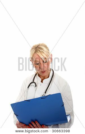Woman Doctor Reading A Chart