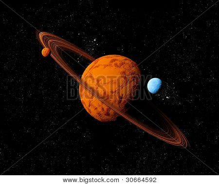 Planet With Ring And Moons. Abstract Background Of Deep Space. In The Far Future Travel. New Technol