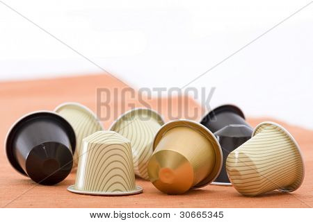 coffee capsules with different colours