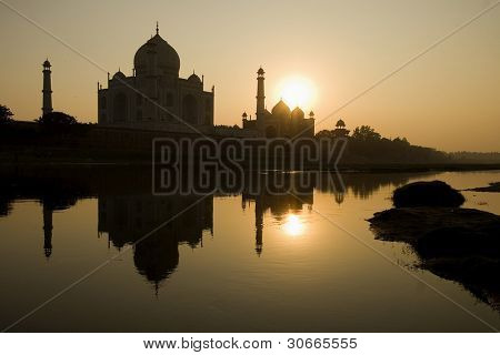 river view from the beautiful wonder of the world Taj Mahal at sunset, Agra, India