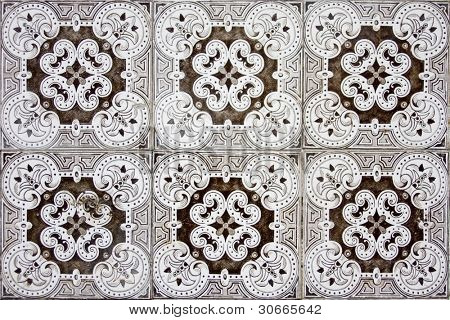 Detail pattern of Portuguese old ceramic tiles (azulejos)