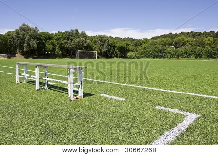 Green grass and sport lines painted at an outdoor playing field with side bank