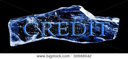 Word frozen in a piece of ice
