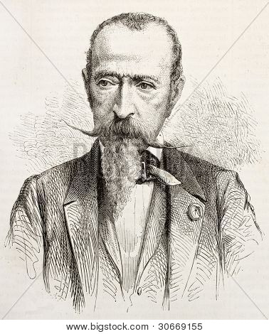 Horace Vernet old engraved portrait. Created by Janet-Lange, published on L'illustration, Journal Universel, Paris, 1863
