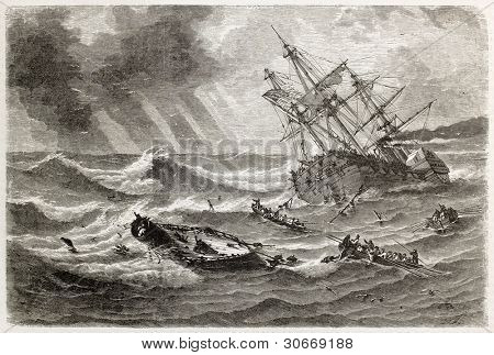 Monitor shipwreck old illustration in front of Cape Hatteras, North Carolina. Created by Lebreton, published on L'illustration, Journal Universel, Paris, 1863