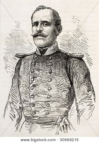 Colonel Artemis old engraved portrait, military commander of  Greek insurrection in Nafplio.  Created by Janet-Lange, published on L'Illustration, Journal Universel, Paris, 1863